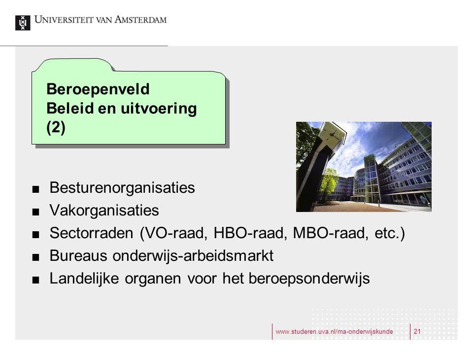 www.studeren.uva.nl/ma-onderwijskunde21 Besturenorganisaties Vakorganisaties Sectorraden (VO-raad, HBO-raad, MBO-raad, etc.) Bureaus onderwijs-arbeidsmarkt Landelijke organen voor het beroepsonderwijs Beroepenveld Beleid en uitvoering (2)