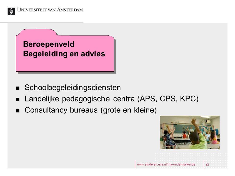 www.studeren.uva.nl/ma-onderwijskunde22 Beroepenveld Begeleiding en advies Schoolbegeleidingsdiensten Landelijke pedagogische centra (APS, CPS, KPC) Consultancy bureaus (grote en kleine) Beroepenveld Begeleiding en advies