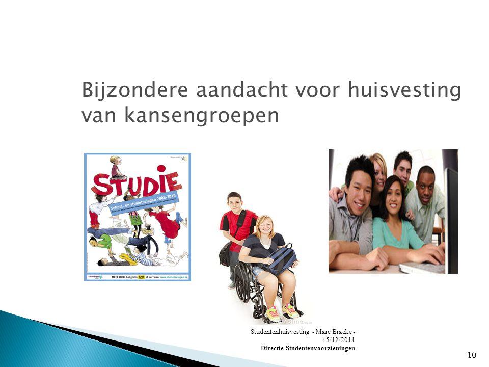 Studentenhuisvesting - Marc Bracke - 15/12/2011 Directie Studentenvoorzieningen 10 Bijzondere aandacht voor huisvesting van kansengroepen