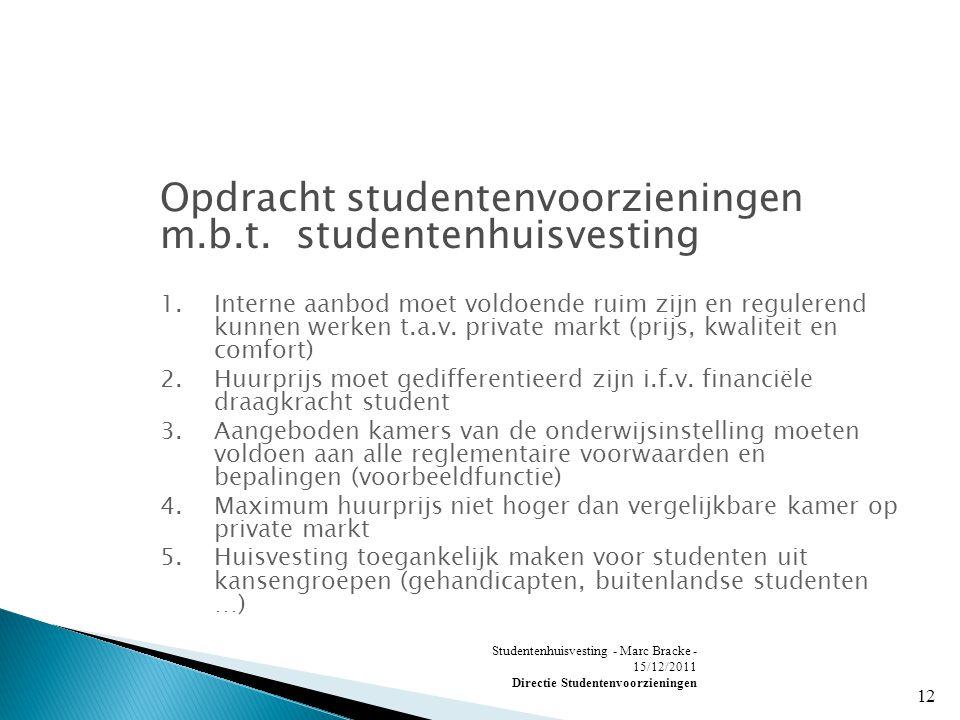 Studentenhuisvesting - Marc Bracke - 15/12/2011 Directie Studentenvoorzieningen 12 Opdracht studentenvoorzieningen m.b.t.