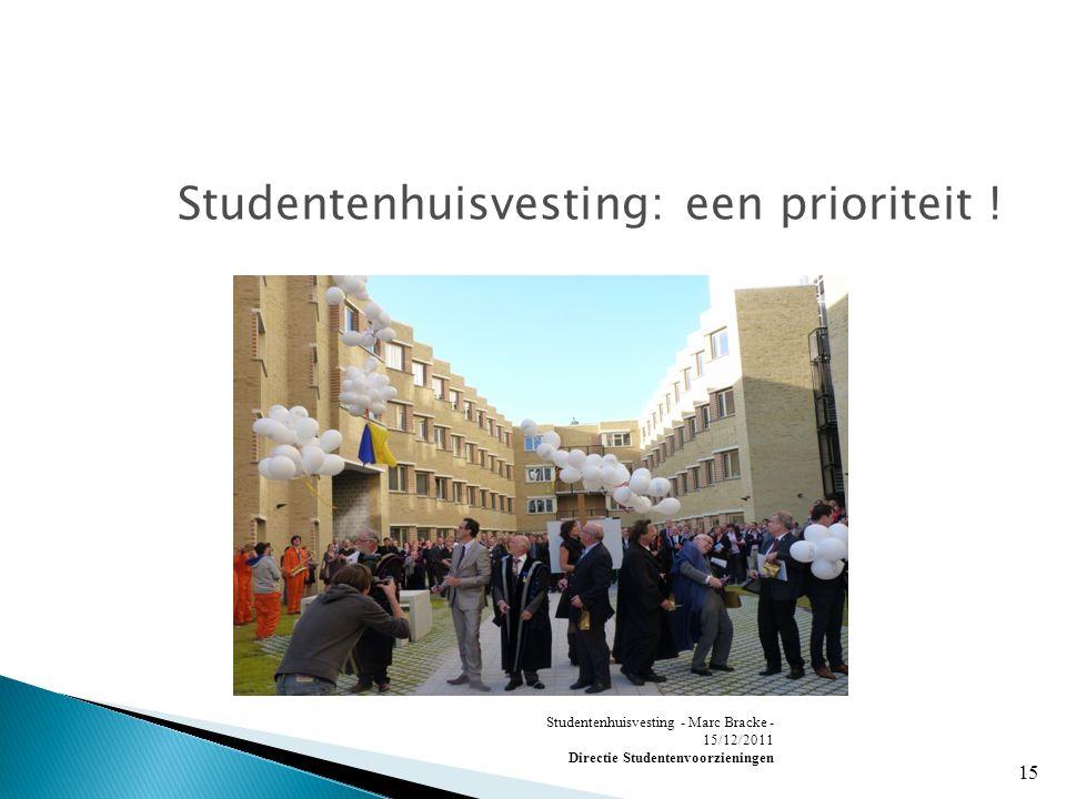 Studentenhuisvesting - Marc Bracke - 15/12/2011 Directie Studentenvoorzieningen 15 Studentenhuisvesting: een prioriteit !