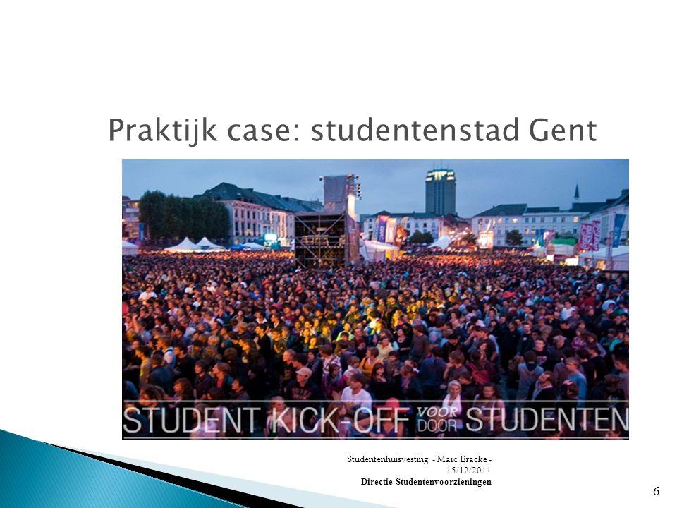 Studentenhuisvesting - Marc Bracke - 15/12/2011 Directie Studentenvoorzieningen 6 Praktijk case: studentenstad Gent