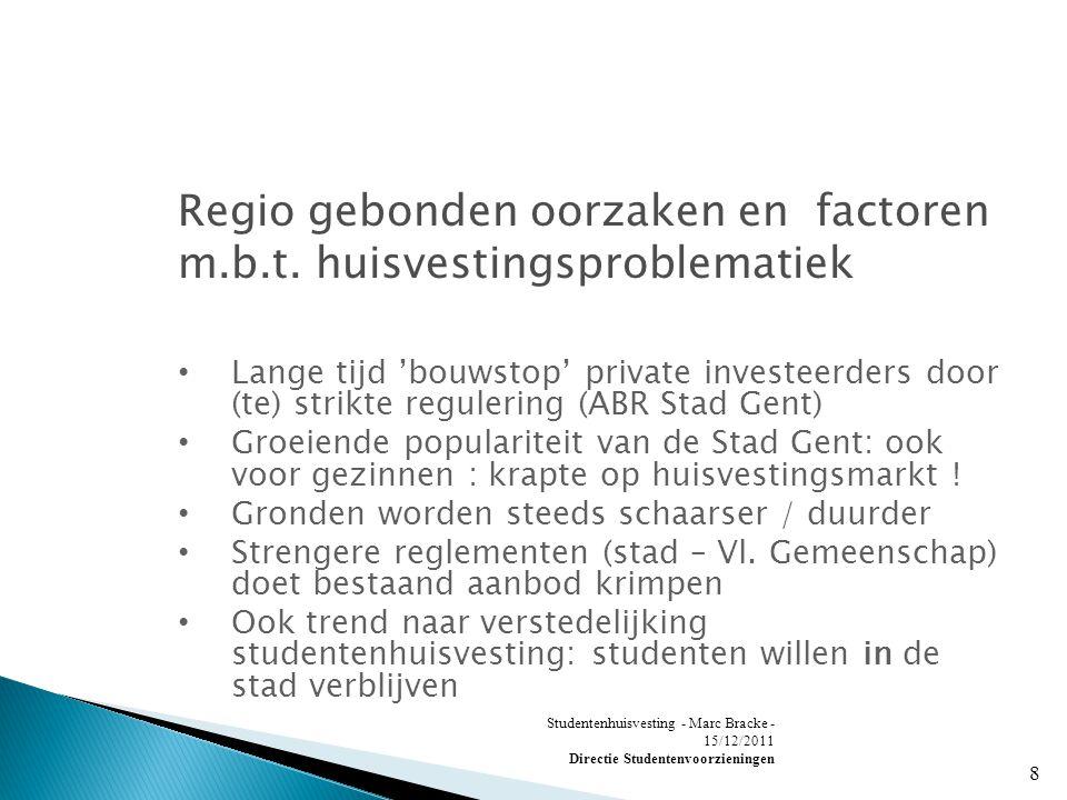 Studentenhuisvesting - Marc Bracke - 15/12/2011 Directie Studentenvoorzieningen 8 Regio gebonden oorzaken en factoren m.b.t.
