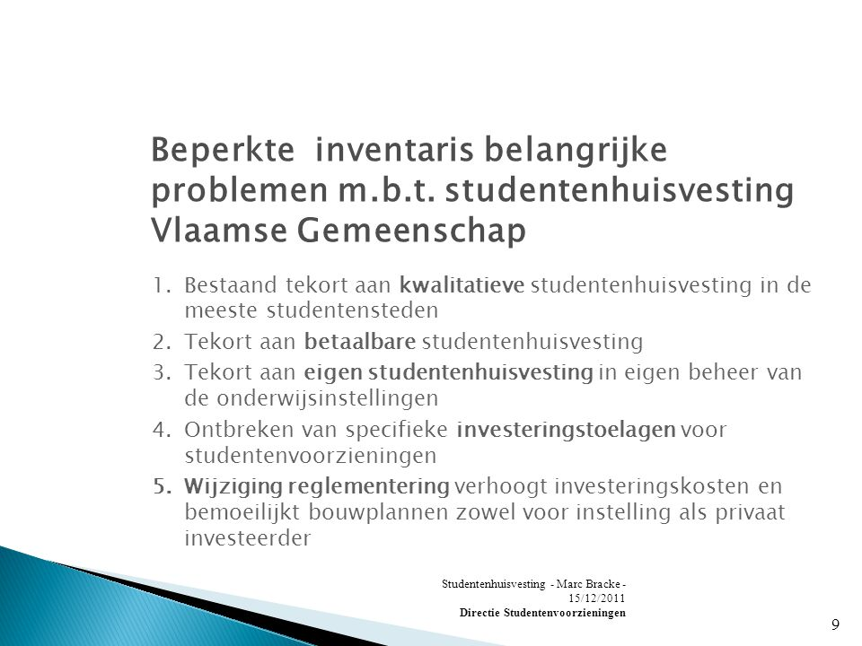 Studentenhuisvesting - Marc Bracke - 15/12/2011 Directie Studentenvoorzieningen 9 Beperkte inventaris belangrijke problemen m.b.t.
