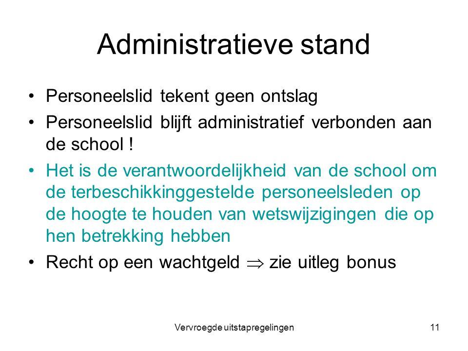 Vervroegde uitstapregelingen11 Administratieve stand Personeelslid tekent geen ontslag Personeelslid blijft administratief verbonden aan de school ! H