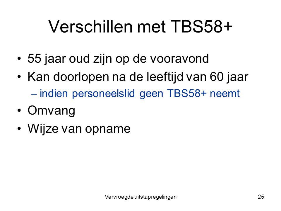 Vervroegde uitstapregelingen25 Verschillen met TBS58+ 55 jaar oud zijn op de vooravond Kan doorlopen na de leeftijd van 60 jaar –indien personeelslid