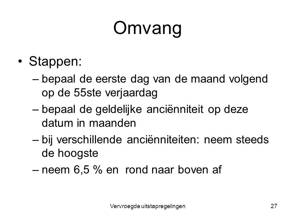 Vervroegde uitstapregelingen27 Omvang Stappen: –bepaal de eerste dag van de maand volgend op de 55ste verjaardag –bepaal de geldelijke anciënniteit op
