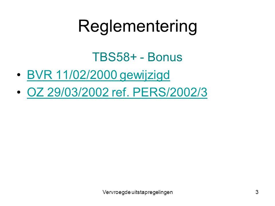 Vervroegde uitstapregelingen3 Reglementering TBS58+ - Bonus BVR 11/02/2000 gewijzigd OZ 29/03/2002 ref. PERS/2002/3