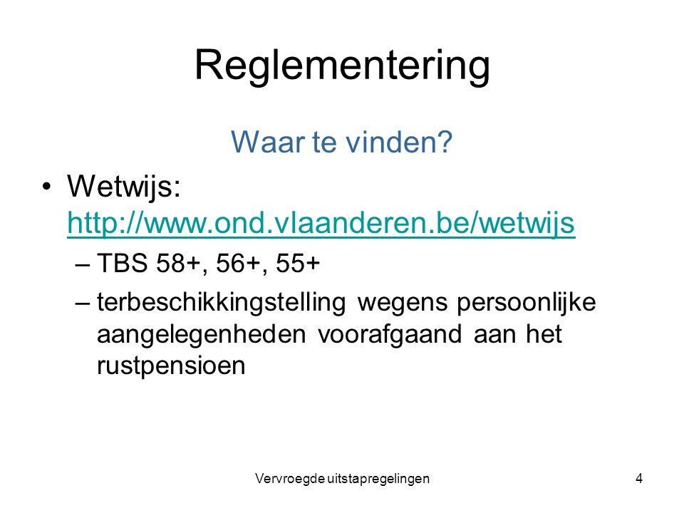 Vervroegde uitstapregelingen4 Reglementering Waar te vinden? Wetwijs: http://www.ond.vlaanderen.be/wetwijs http://www.ond.vlaanderen.be/wetwijs –TBS 5