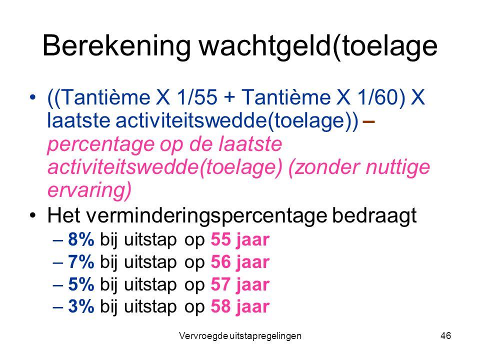 Vervroegde uitstapregelingen46 Berekening wachtgeld(toelage ((Tantième X 1/55 + Tantième X 1/60) X laatste activiteitswedde(toelage)) – percentage op