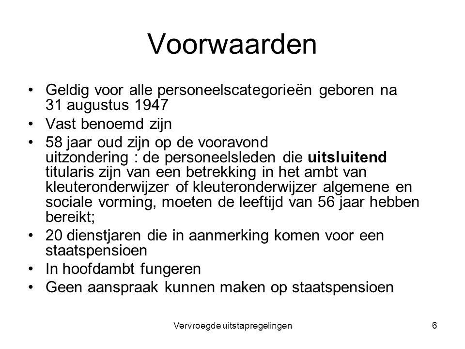 Vervroegde uitstapregelingen6 Voorwaarden Geldig voor alle personeelscategorieën geboren na 31 augustus 1947 Vast benoemd zijn 58 jaar oud zijn op de