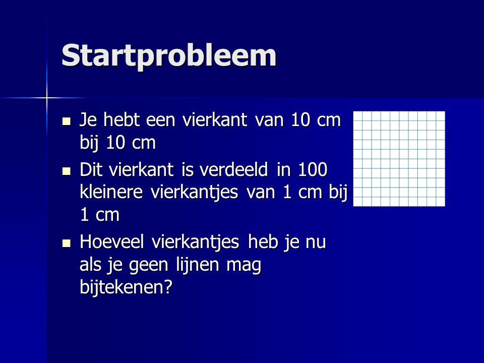 Startprobleem Je hebt een vierkant van 10 cm bij 10 cm Je hebt een vierkant van 10 cm bij 10 cm Dit vierkant is verdeeld in 100 kleinere vierkantjes v