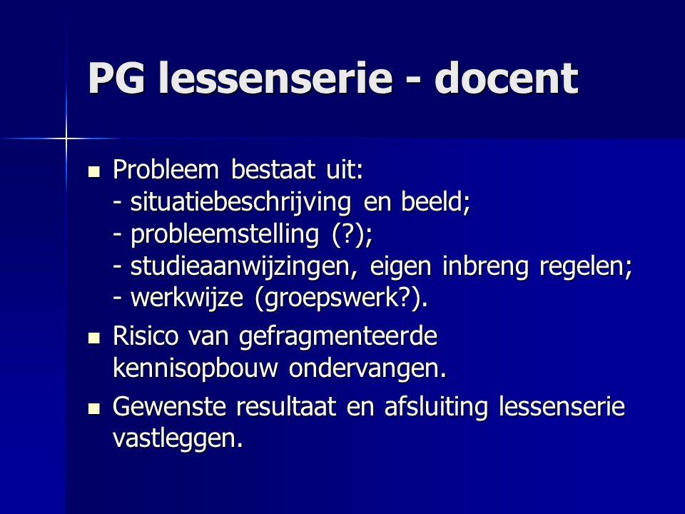 PG lessenserie - docent Probleem bestaat uit: - situatiebeschrijving en beeld; - probleemstelling (?); - studieaanwijzingen, eigen inbreng regelen; - werkwijze (groepswerk?).