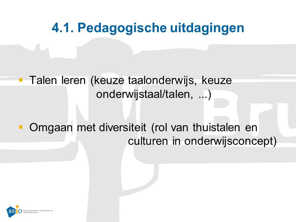 4.1. Pedagogische uitdagingen  Talen leren (keuze taalonderwijs, keuze onderwijstaal/talen,...)  Omgaan met diversiteit (rol van thuistalen en cultu