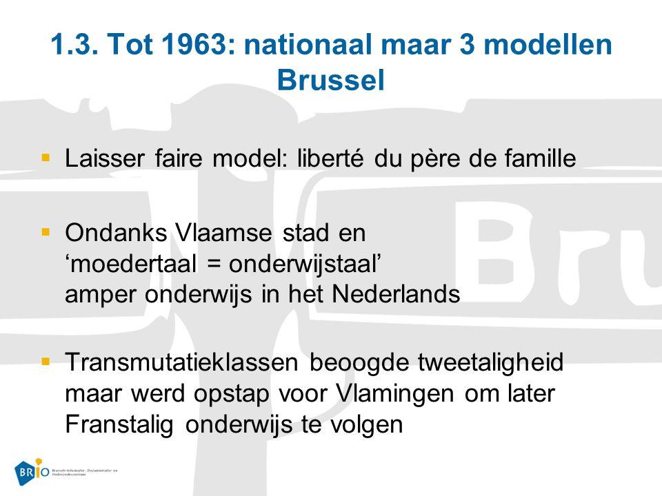 1.3. Tot 1963: nationaal maar 3 modellen Brussel  Laisser faire model: liberté du père de famille  Ondanks Vlaamse stad en 'moedertaal = onderwijsta