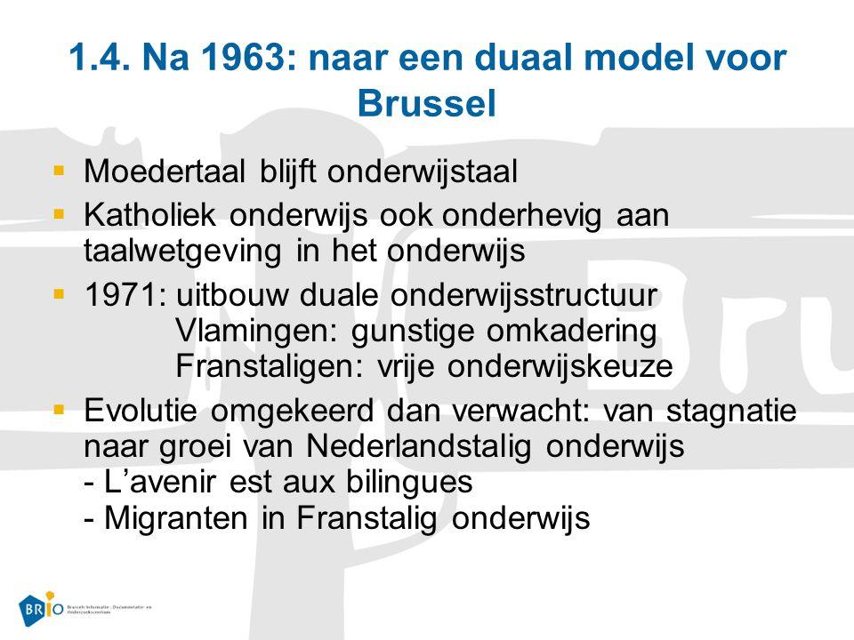1.4. Na 1963: naar een duaal model voor Brussel  Moedertaal blijft onderwijstaal  Katholiek onderwijs ook onderhevig aan taalwetgeving in het onderw
