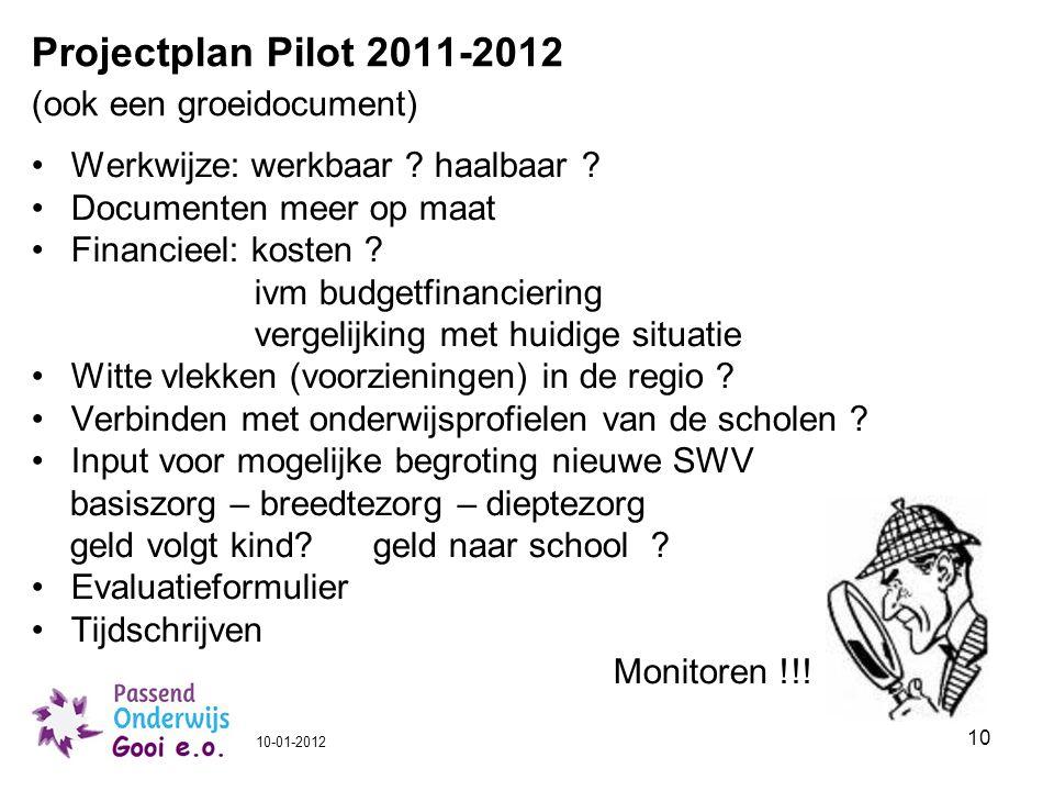 10 Projectplan Pilot 2011-2012 (ook een groeidocument) Werkwijze: werkbaar ? haalbaar ? Documenten meer op maat Financieel: kosten ? ivm budgetfinanci