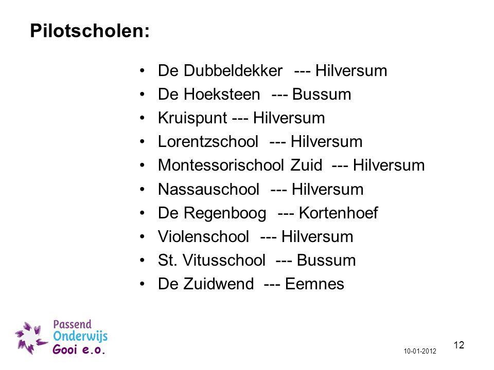 12 Pilotscholen: De Dubbeldekker --- Hilversum De Hoeksteen --- Bussum Kruispunt --- Hilversum Lorentzschool --- Hilversum Montessorischool Zuid --- H