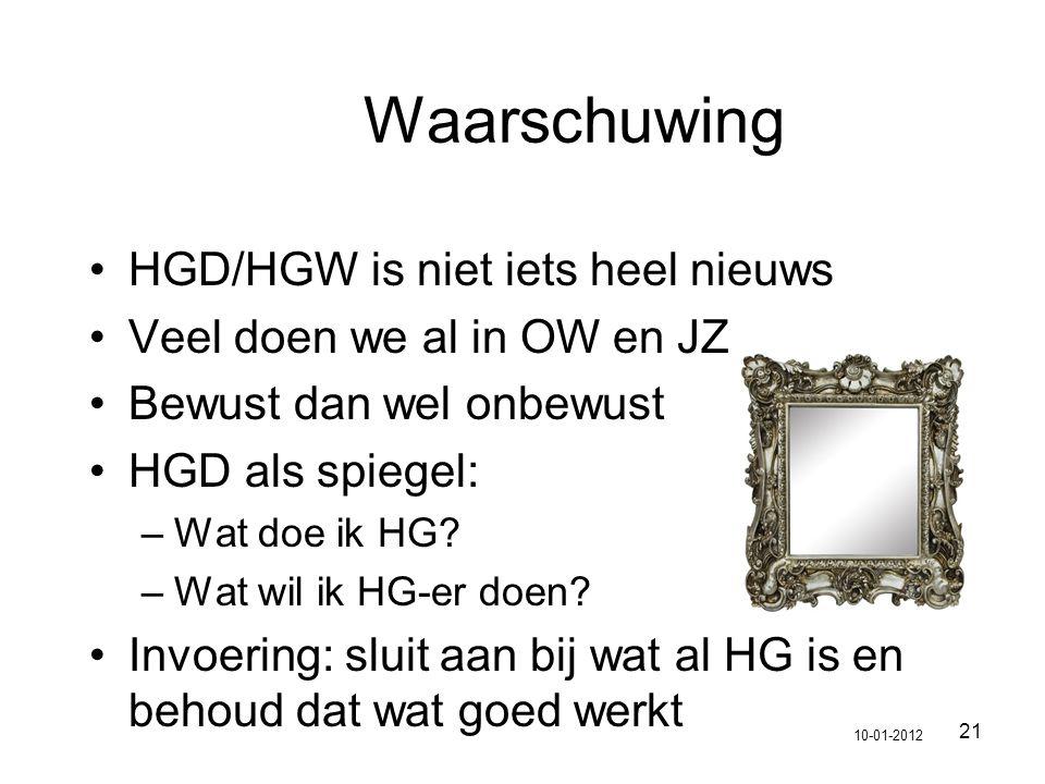 21 Waarschuwing HGD/HGW is niet iets heel nieuws Veel doen we al in OW en JZ Bewust dan wel onbewust HGD als spiegel: –Wat doe ik HG? –Wat wil ik HG-e