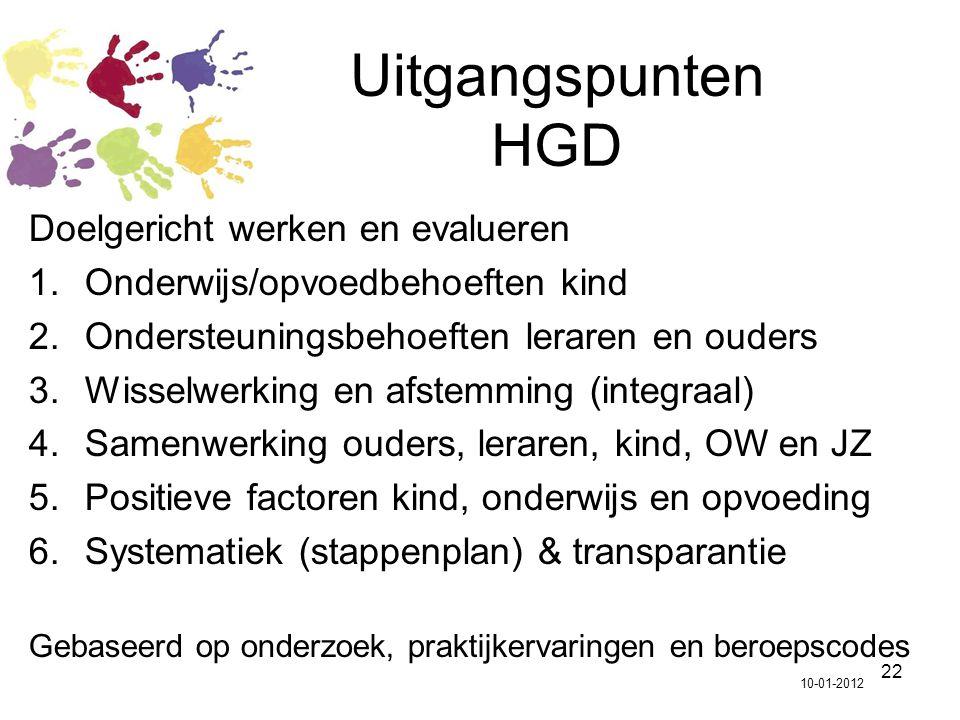 22 Uitgangspunten HGD Doelgericht werken en evalueren 1.Onderwijs/opvoedbehoeften kind 2.Ondersteuningsbehoeften leraren en ouders 3.Wisselwerking en