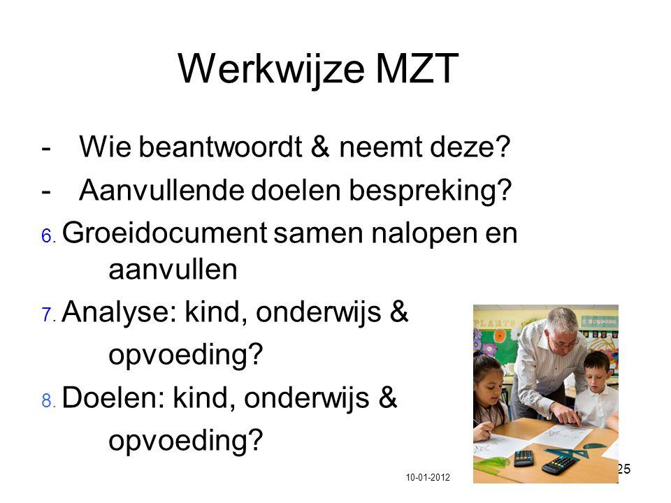 25 Werkwijze MZT -Wie beantwoordt & neemt deze? -Aanvullende doelen bespreking? 6. Groeidocument samen nalopen en aanvullen 7. Analyse: kind, onderwij
