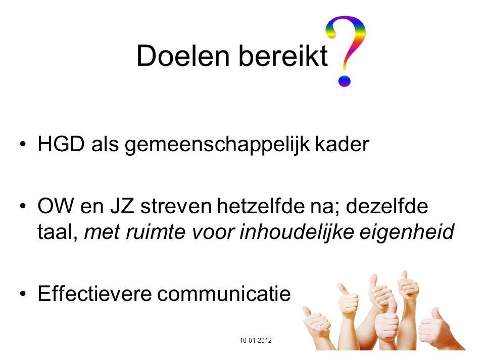 29 Doelen bereikt HGD als gemeenschappelijk kader OW en JZ streven hetzelfde na; dezelfde taal, met ruimte voor inhoudelijke eigenheid Effectievere co