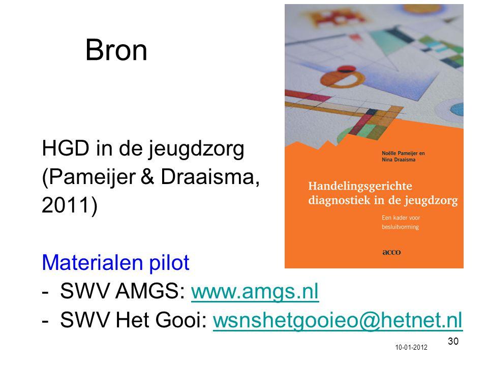 30 Bron HGD in de jeugdzorg (Pameijer & Draaisma, 2011) Materialen pilot -SWV AMGS: www.amgs.nlwww.amgs.nl -SWV Het Gooi: wsnshetgooieo@hetnet.nlwsnsh
