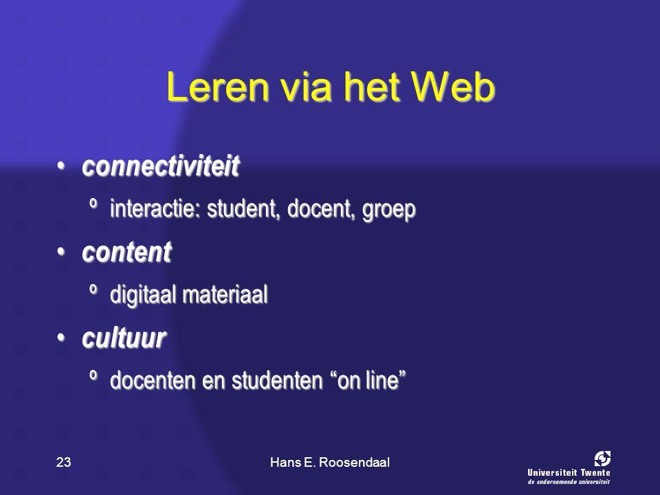 Hans E. Roosendaal23 Leren via het Web connectiviteit connectiviteit ºinteractie: student, docent, groep content content ºdigitaal materiaal cultuur c