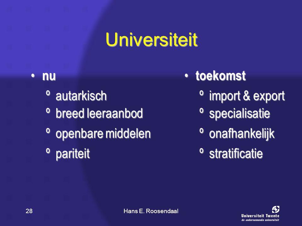 Hans E. Roosendaal28 Universiteit nu nu toekomst toekomst ºautarkisch ºimport & export ºspecialisatie ºopenbare middelen ºonafhankelijk ºpariteit ºstr