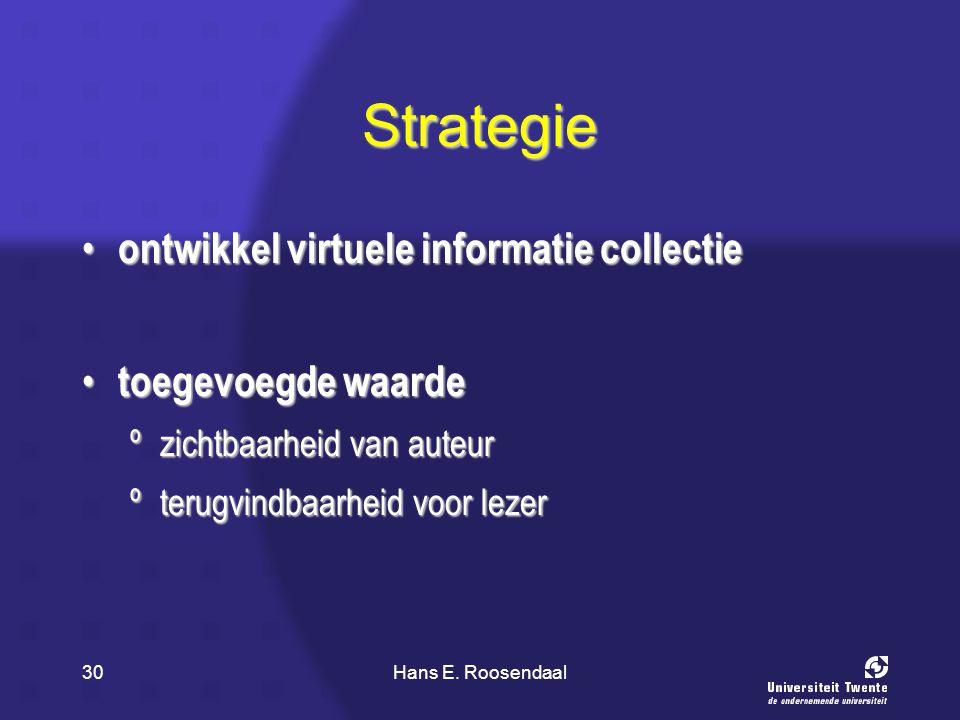 Hans E. Roosendaal30 Strategie ontwikkel virtuele informatie collectie ontwikkel virtuele informatie collectie toegevoegde waarde toegevoegde waarde º
