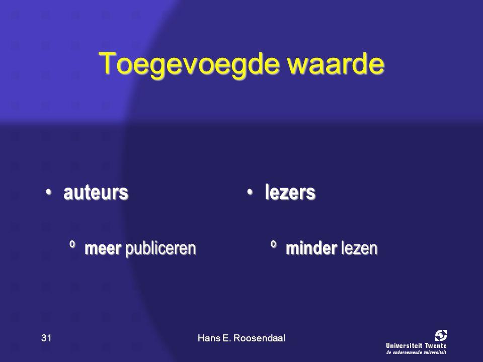 Hans E. Roosendaal31 Toegevoegde waarde auteurs auteurs º meer publiceren lezers lezers º minder lezen