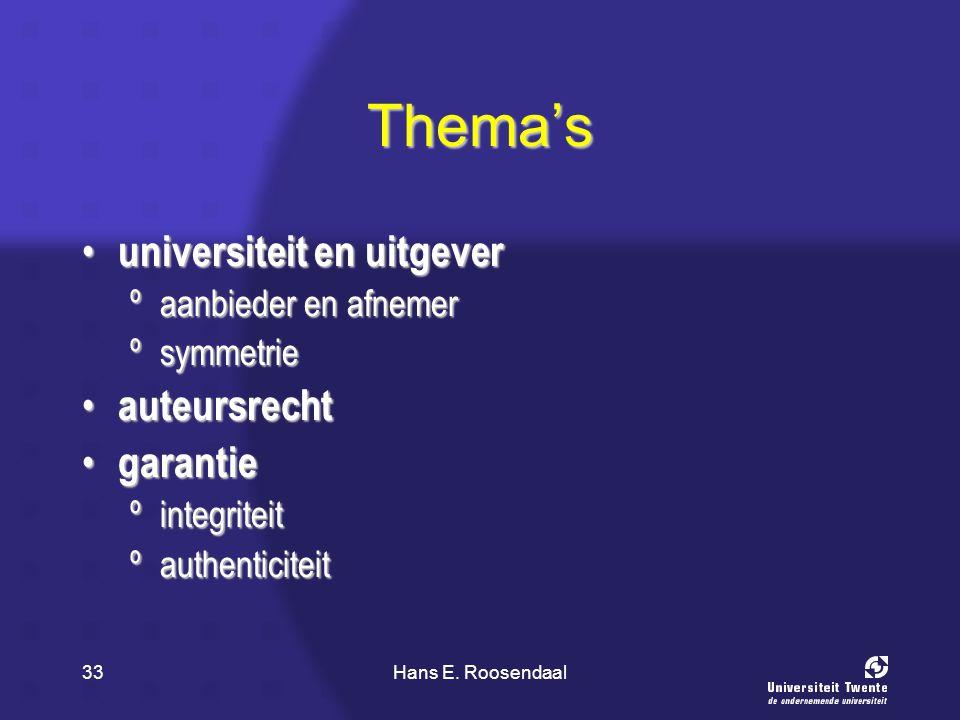 Hans E. Roosendaal33 Thema's universiteit en uitgever universiteit en uitgever ºaanbieder en afnemer ºsymmetrie auteursrecht auteursrecht garantie gar
