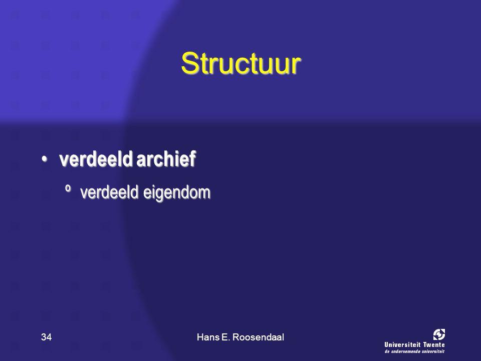 Hans E. Roosendaal34 Structuur verdeeld archief verdeeld archief ºverdeeld eigendom