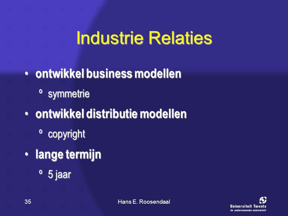 Hans E. Roosendaal35 Industrie Relaties ontwikkel business modellen ontwikkel business modellen ºsymmetrie ontwikkel distributie modellen ontwikkel di