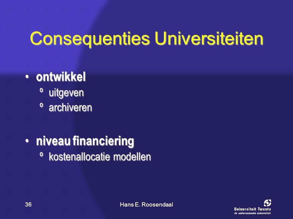 Hans E. Roosendaal36 Consequenties Universiteiten ontwikkel ontwikkel ºuitgeven ºarchiveren niveau financiering niveau financiering ºkostenallocatie m