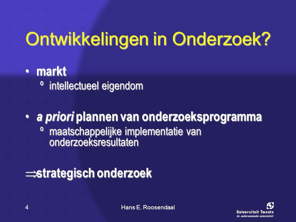 Hans E. Roosendaal4 Ontwikkelingen in Onderzoek? markt markt ºintellectueel eigendom a priori plannen van onderzoeksprogramma a priori plannen van ond