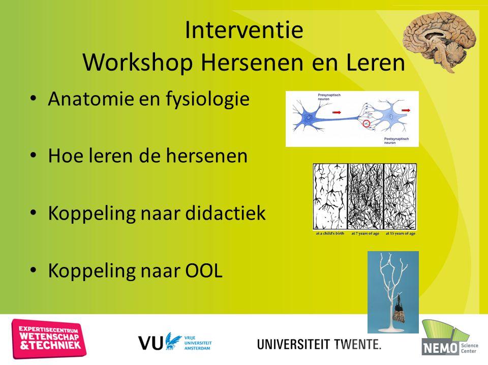 Interventie Workshop Hersenen en Leren Anatomie en fysiologie Hoe leren de hersenen Koppeling naar didactiek Koppeling naar OOL