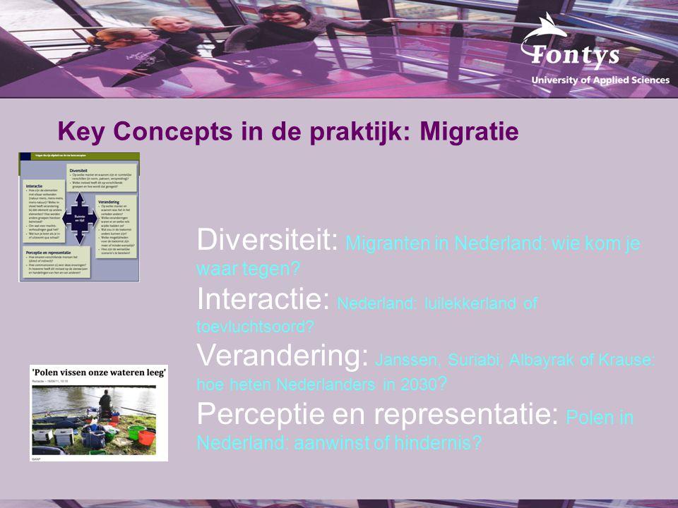 Key Concepts in de praktijk: Migratie Diversiteit: Migranten in Nederland: wie kom je waar tegen? Interactie: Nederland: luilekkerland of toevluchtsoo