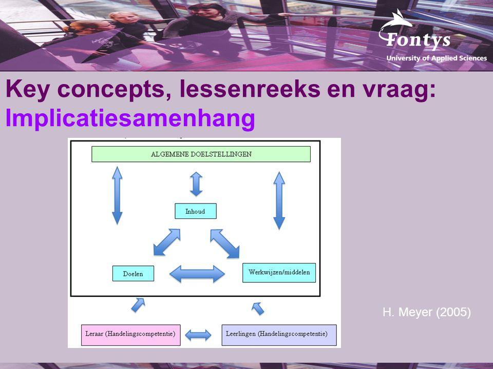 Key concepts, lessenreeks en vraag: Implicatiesamenhang H. Meyer (2005)