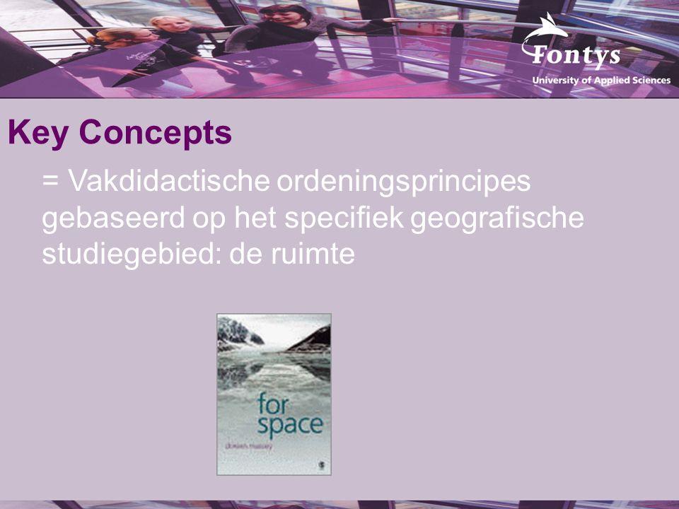 Key Concepts = Vakdidactische ordeningsprincipes gebaseerd op het specifiek geografische studiegebied: de ruimte