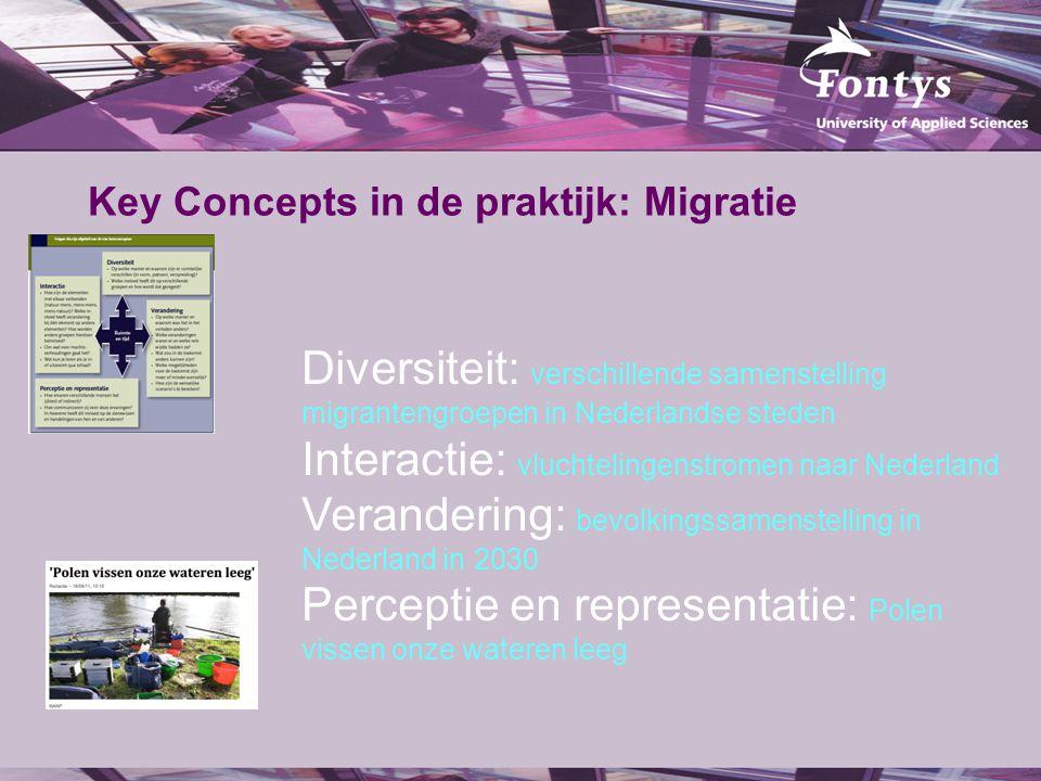 Key Concepts in de praktijk: Migratie Diversiteit: verschillende samenstelling migrantengroepen in Nederlandse steden Interactie: vluchtelingenstromen