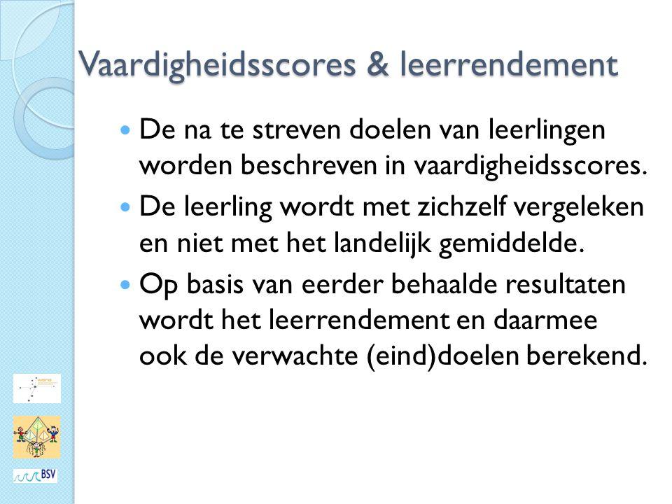 Vaardigheidsscores & leerrendement De na te streven doelen van leerlingen worden beschreven in vaardigheidsscores.