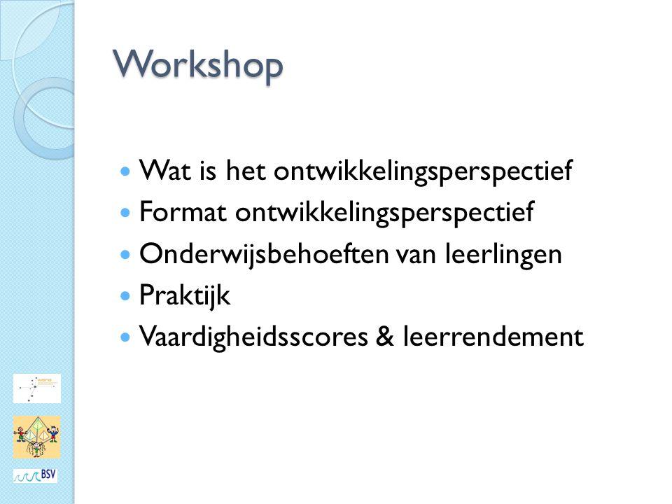 Workshop Wat is het ontwikkelingsperspectief Format ontwikkelingsperspectief Onderwijsbehoeften van leerlingen Praktijk Vaardigheidsscores & leerrendement