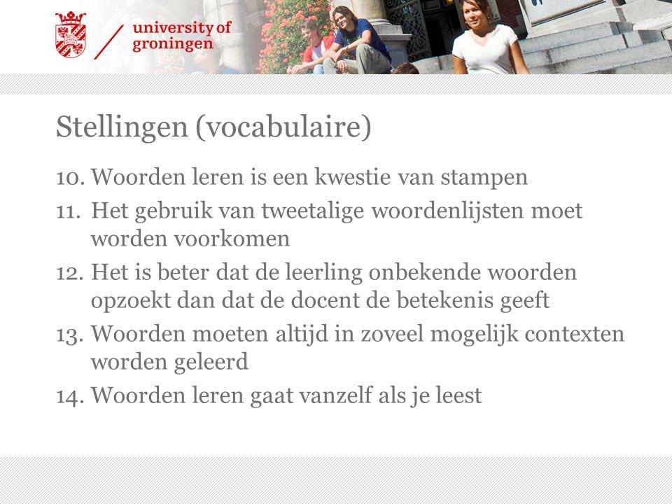 Stellingen (vocabulaire) 10.Woorden leren is een kwestie van stampen 11.Het gebruik van tweetalige woordenlijsten moet worden voorkomen 12.Het is bete