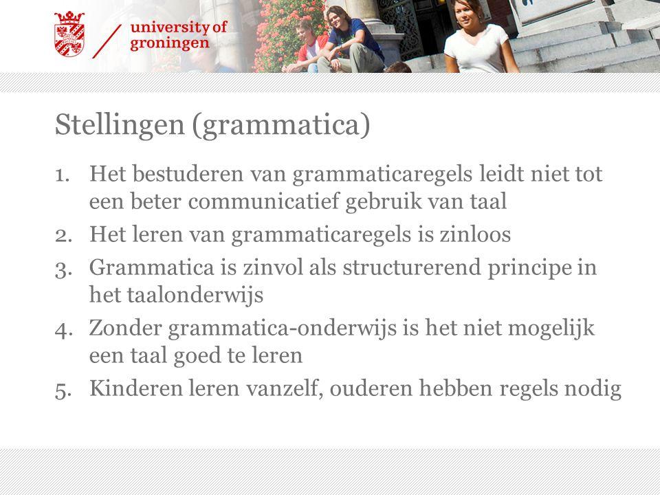 Stellingen (grammatica) 1.Het bestuderen van grammaticaregels leidt niet tot een beter communicatief gebruik van taal 2.Het leren van grammaticaregels