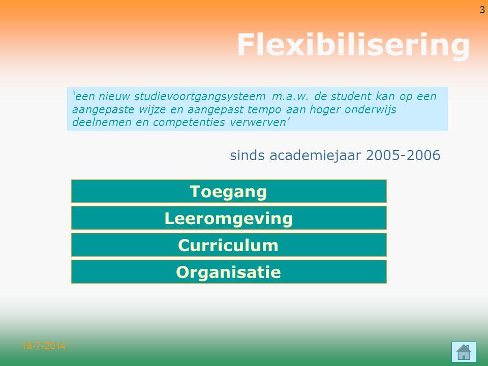 18-7-2014 3 Flexibilisering sinds academiejaar 2005-2006 'een nieuw studievoortgangsysteem m.a.w.
