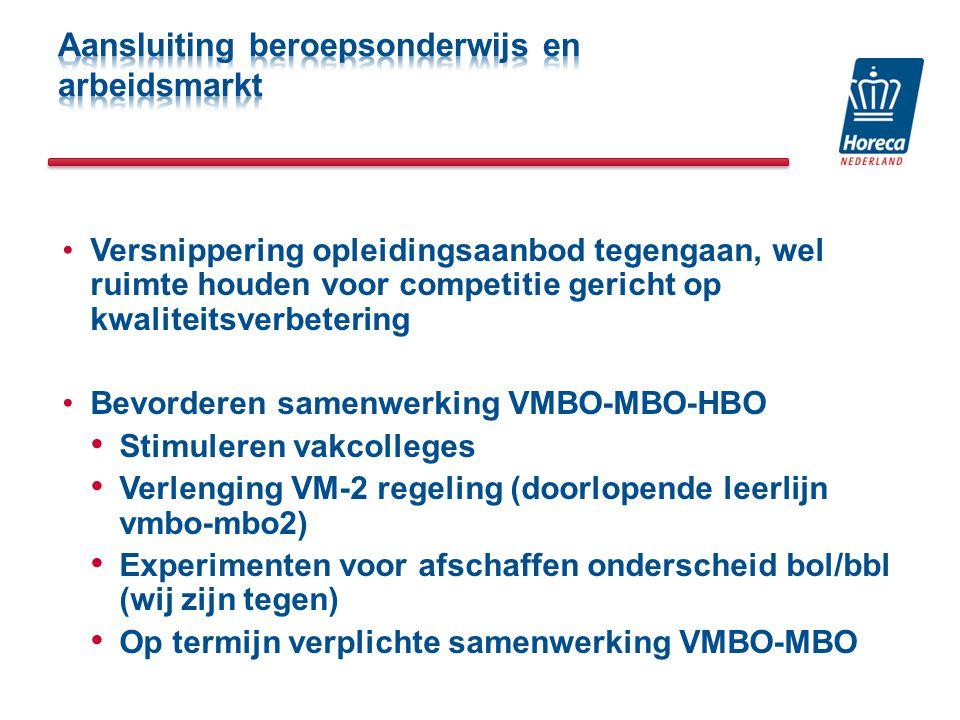 Versnippering opleidingsaanbod tegengaan, wel ruimte houden voor competitie gericht op kwaliteitsverbetering Bevorderen samenwerking VMBO-MBO-HBO Stimuleren vakcolleges Verlenging VM-2 regeling (doorlopende leerlijn vmbo-mbo2) Experimenten voor afschaffen onderscheid bol/bbl (wij zijn tegen) Op termijn verplichte samenwerking VMBO-MBO