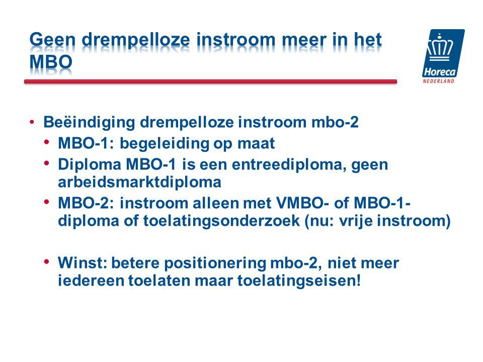 Beëindiging drempelloze instroom mbo-2 MBO-1: begeleiding op maat Diploma MBO-1 is een entreediploma, geen arbeidsmarktdiploma MBO-2: instroom alleen met VMBO- of MBO-1- diploma of toelatingsonderzoek (nu: vrije instroom) Winst: betere positionering mbo-2, niet meer iedereen toelaten maar toelatingseisen!