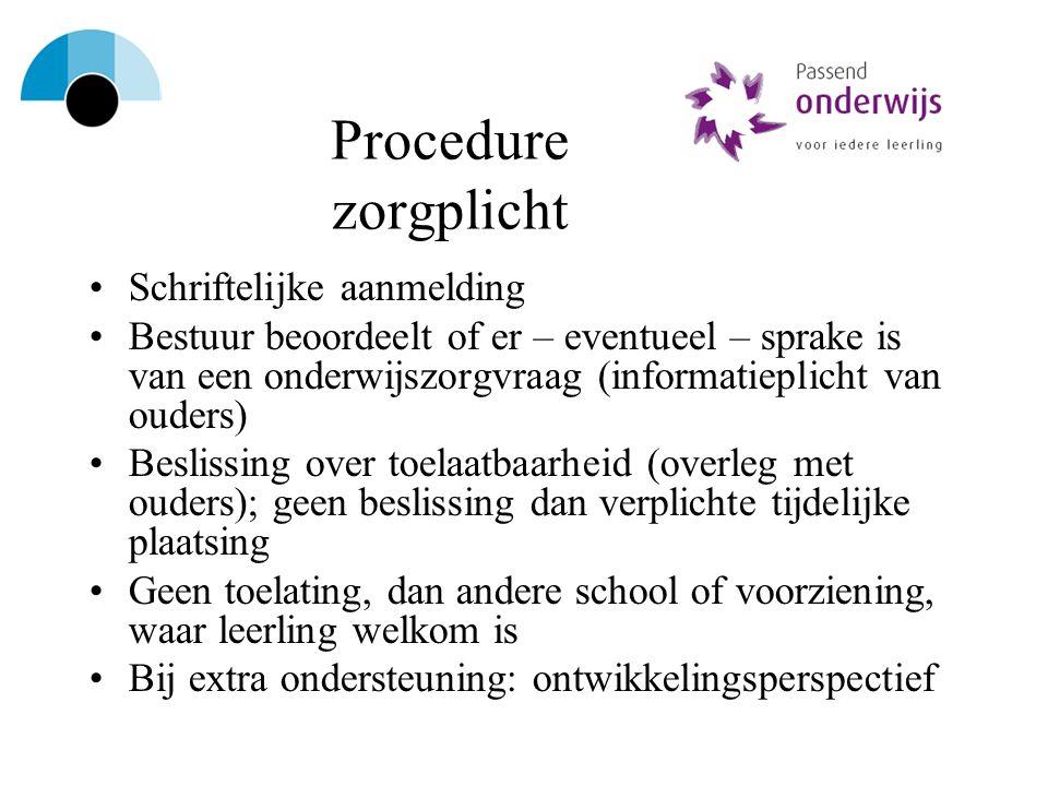 Procedure zorgplicht Schriftelijke aanmelding Bestuur beoordeelt of er – eventueel – sprake is van een onderwijszorgvraag (informatieplicht van ouders