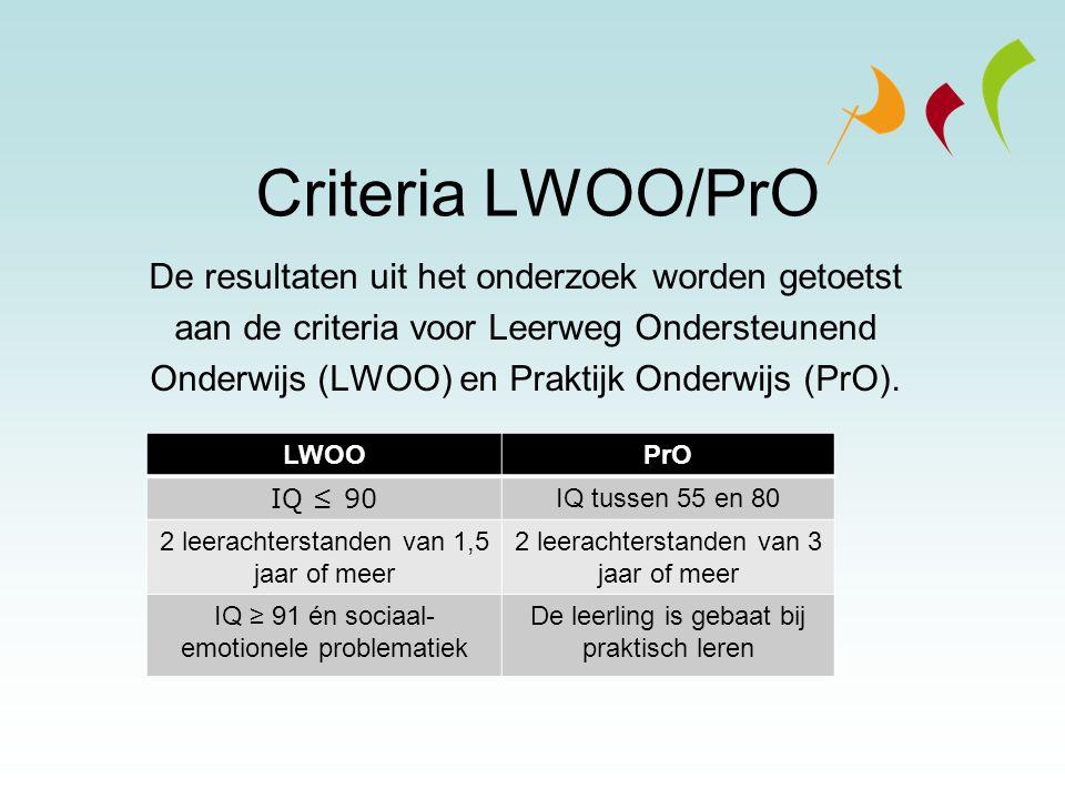 Criteria LWOO/PrO De resultaten uit het onderzoek worden getoetst aan de criteria voor Leerweg Ondersteunend Onderwijs (LWOO) en Praktijk Onderwijs (P